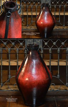 There's a lot of ♥WOW♥ in RED in Tuscan Look Vases from Accents of Salado. See all Four Color Options for the Alhambra Iron Strap Floor Vase.