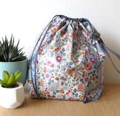 Coin Couture, Liberty Of London Fabric, Drawstring Backpack, Creations, Fashion, Bags, Sewing, Pouch Bag, Baby Born