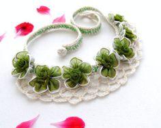 Crochet Necklace  Beaded Necklace  Natural Linen by CraftsbySigita