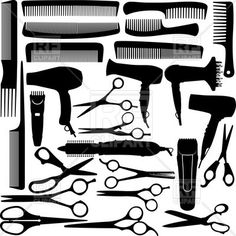 Barber (hairdressing) salon equipment - hairdryer, scissors and comb, download royalty-free vector clipart (EPS)