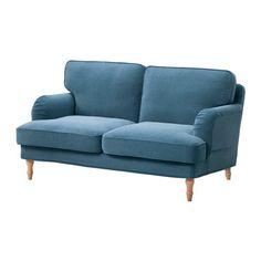 STOCKSUND 2er-Sofa - hellbraun, Ljungen blau - IKEA