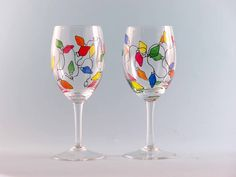 wine glass painting | wine glasses christmas lights $ 24 hand painted christmas wine glasses ...
