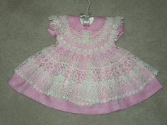 DAINTY HANDMADE LACY PINAFORE WITH DRESS AND PANTIES SET-NEW
