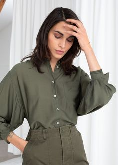 1c4eaebefe Oversized Silk Blend Button Up Shirt