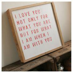 'I Love You' handmade solid oak print