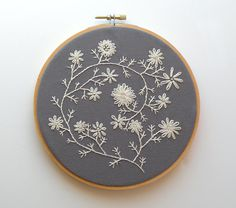 "Ecru cream embroidered flowers - 6"" embroidery hoop. $37.00, via Etsy."