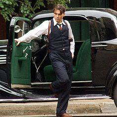 vintage vest and trousers public enemies johnny depp gun holster classic car