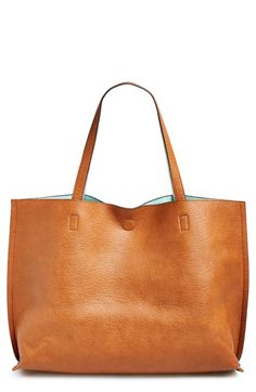 reversible vegan leather tote