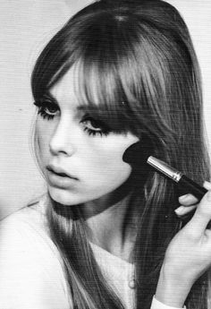 #1960 the lips were usually pale and muted out completely or a very light nude pink shade. This created more attention to the strong eyes, using top and often bottom eyelashes to create a wide eye effect with white eyeliner pencil on the waterline.