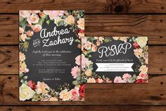 Wedding Invitation and RSVP by Heather Moore, via Behance
