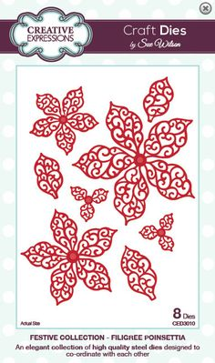 Creative Expressions Sue Wilson Die -Festive Collection - Filigree Poinsettia - CED3010