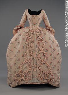 Robe a la Française, ca. 1770-80. Closed front, peach chiné silk