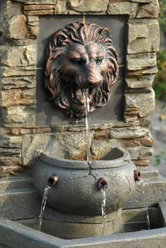 Order Kontiki Water Features - Faux Stone Fountains Lion Head Outdoor/Indoor Water Fountain, delivered right to your door. Backyard Water Fountains, Backyard Water Feature, Indoor Fountain, Garden Fountains, Patio Fountain, Outdoor Wall Fountains, Tabletop Fountain, Indoor Waterfall, Garden Waterfall