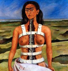 """The Broken Column  Frida Kahlo  1944    My favourite Kahlo painting. She gives such dignity to pain.  """"Kahlo was more like a broken Cleopatra, hiding her tortured body, her shriveled leg, her broken foot, her orthopedic corsets under the spectacular finery of the peasant women of Mexico, who for centuries jealously kept the ancient jewels hidden away, protected from poverty, to be displayed only at the great fiestas of the agrarian communities. The lace, the ribbons, the skirts, the…"""