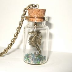 Seahorse Necklace Bottle Pendant Quirky by flonightingales on Etsy, £13.00