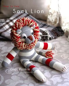 Sewing Toys how to sew sock lion--not really a fan of most sock animals, but this is pretty cute - Sew a cute sock lion, Shimba, from a pair of socks with this free pattern and tutorial. Step by step photo with detailed directions given. – Page 2 of 2 Sock Monkey Crafts, Sock Crafts, Diy Crafts, Sewing Patterns Free, Free Sewing, Free Pattern, Doll Patterns, Softie Pattern, Bear Patterns