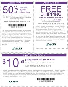 50% off a single item and more at Jo-Ann Fabric coupon via The Coupons App