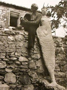 Max Ernst  Chillin' with a mermaid.  Saint-Martin d'Ardeche, France  1939