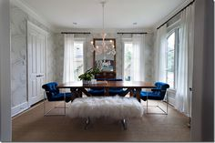 Dining Room - Milo Baughman chairs - Sally Wheat Interiors