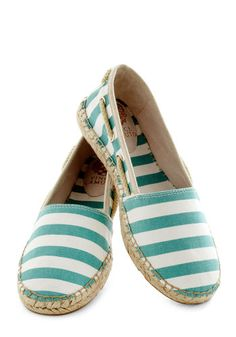 Lakeside Lounge Flat - Mint, Stripes, Trim, Espadrille, Leather, White, Casual, Nautical, Travel