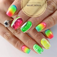 Arte Brillante Gel Brush by Natalia Ptaszek Dope Nails, My Nails, Lemon Nails, Dream Catcher Nails, Pink Lemon, Indigo Nails, Best Salon, Summer Time, Nailart