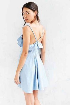 Cooperative Chambray Ruffle Fit + Flare Mini Dress - Urban Outfitters