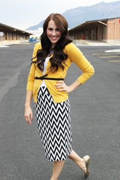 Cute Fall Outfit- Black and White Chevron Skirt #Cozy Couture