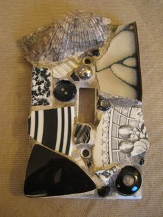 Mosaic Single Switch Plate in Black and Gray with Chunky Sea Shell mosaic art