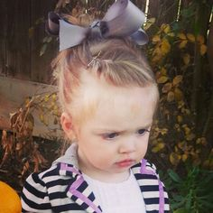 Toddler hair front twist messy bun with big bow