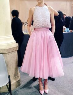 Womens designer runway fashion: backstage 1960s 1950s style pink silk tulle skirt and white sequin beaded midriff sleeveless top, pink heels shoes (mw)