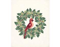 Christmas Cardinal Traditional  Natural History Holiday  Art Print 8x10