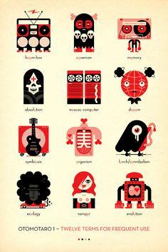 icons, icon, vampire, lunch, cannibalism, tape,computer, doom, radio, bones, guitar, robot