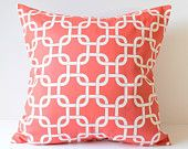 Decorative Pillows Cushions Cover Coral & White by SewGracious