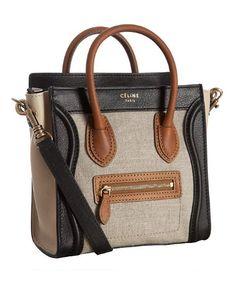 Celine natural canvas leather detail  Nano Luggage  mini crossbody tote  Celine Tote Bag, 8c9bde18f1