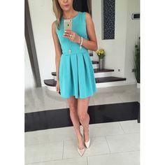 Malang Fashion Blue Plain Ruffle Round Neck Sleeveless Mini Dress