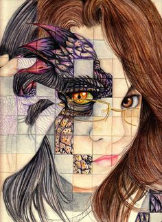 High school...gridded artwork - Google Search Interesting move away from typical self portraiture.