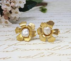 Excited to share the latest addition to my #etsy shop: Pearl Gold Earrings, June Birthstone, Birthstone jewelry, Bridesmaid Gift, Gold Stud Earrings, Flower Pearl Studs, Wedding Earrings, Studs http://etsy.me/2iSASyP #weddings #jewelry #gold #butterfly #brass #yes #women #pearl #