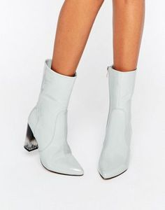 Lost Ink | Lost Ink Geneva Gray High Cut Clear Heel Ankle Boots