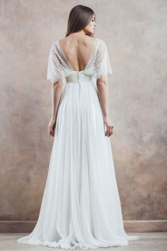 Unusual A-line Straps Sweep/Brush Train Chiffon Fabric Vintage Wedding Dresses with Lace Style yw315121007