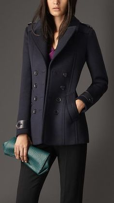 Burberry Tailored Wool Cashmere Pea Coat in Blue (navy) - Lyst Simple Outfits, Chic Outfits, Winter Outfits, Fashion Outfits, Fashion Sets, Blazers For Women, Coats For Women, Clothes For Women, Look Fashion