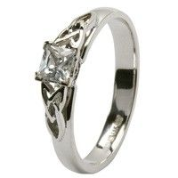 Celtic Engagement Ring - Princes Cut Diamond with Trinity Design
