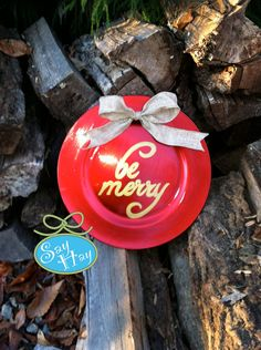 Hand Painted Christmas Inspired Foil Plate Charger Decoration with Be Merry and Burlap Bow.