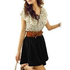 Amazon.com: Allegra K Women Dots Print Flouncing Patchwork Dress Off White Black M w Belt: Clothing