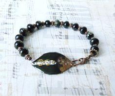 Bracelet Ethnique Chic, Bracelet Africain, Cuivre Emaillé, Bracelet Noir, Fête des Mères : Bracelet par bleuluciole