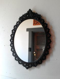 Oval Wall Mirror In Vintage Metal Frame 15 X 11 Inch Handpainted Br Jet Black