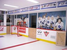 I want an ice skating room! Synthetic ice is sold so anyone can have an indoor ice rink Hockey Man Cave, Boy Room, Kids Room, Hockey Decor, Hockey Crafts, Classy Man Cave, Hockey Bedroom, Man Cave Basement, Ice Rink
