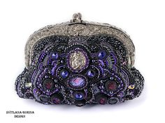 Beaded handbag, elegant Evening purse in Black, silver and purple colours. fits for evening apparel, looks gorgeous!