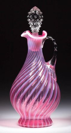*FENTON ART GLASS ~ Spiral Decanter c. 1950