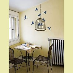 bird cage stencil - put this in the hallway next to the family tree for all those that have flown the cuckoos nest