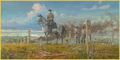 Ready to Fight Again;  General Robert E. Lee among the guns of Colonel E. P. Alexander's artillery prepares for a Union counterattack shortly after the failure of Pickett's Charge. By Dale Gallon